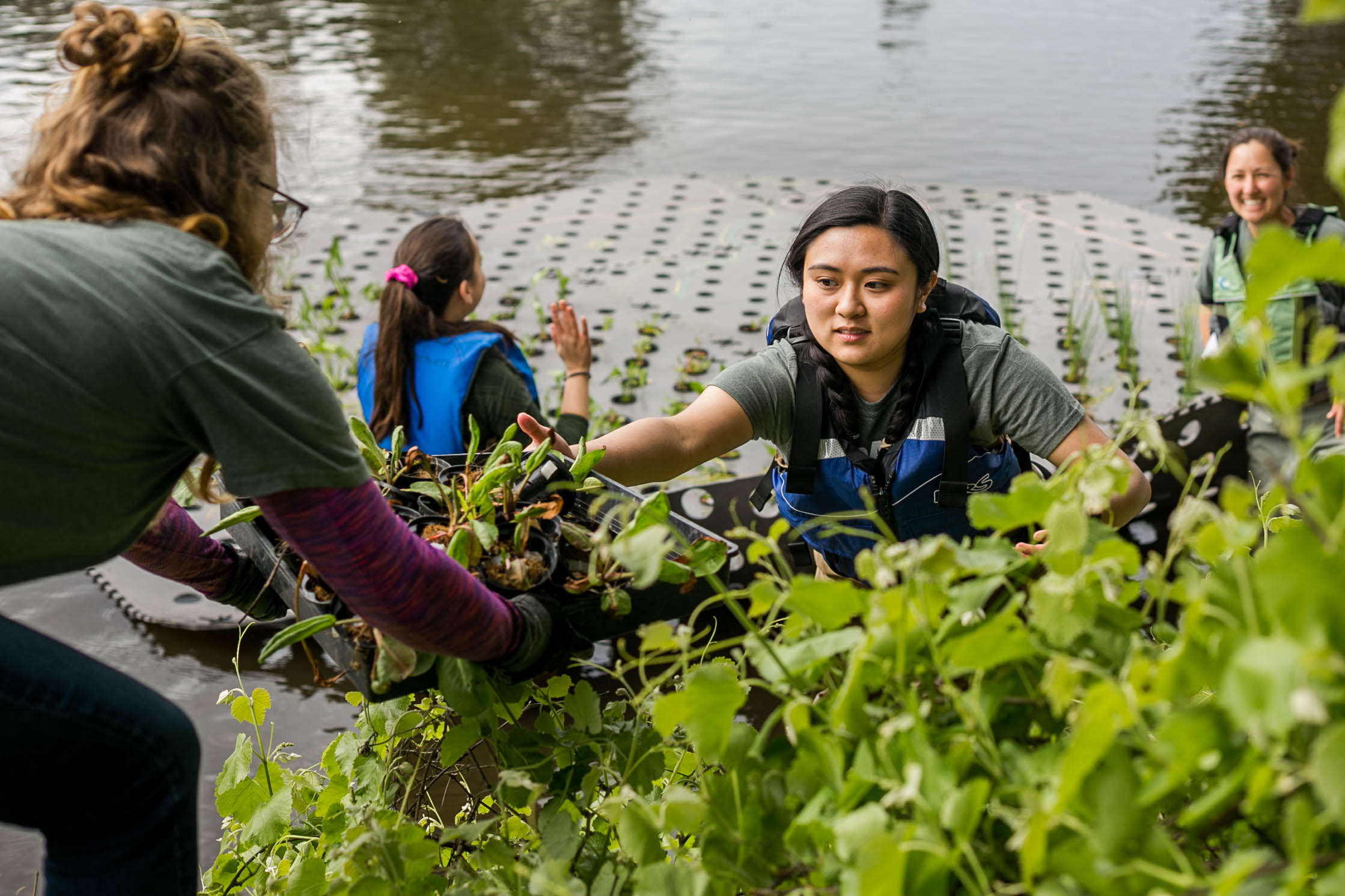 Student interns and Waterway Steward Nina Suzuki