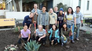 Sustainable Horticulture interns and volunteers outside of Bainer Hall planter.