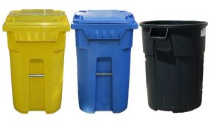 Photo of recycle and waste containers.