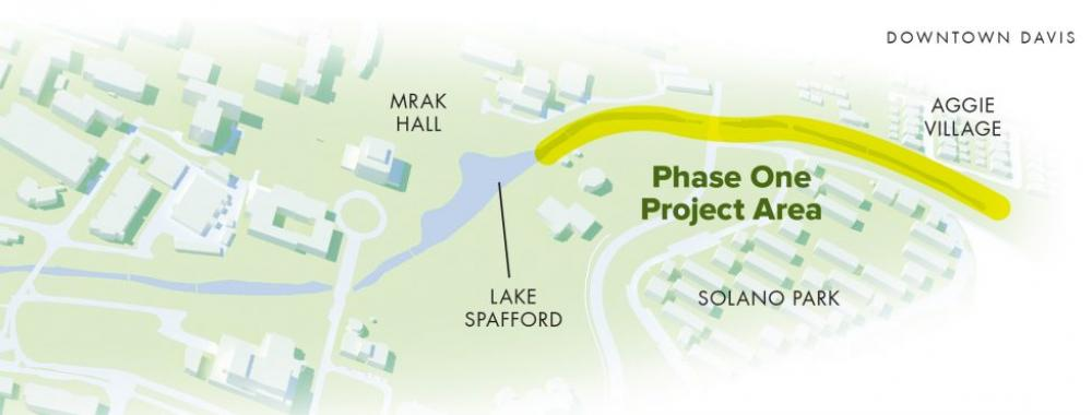 Image of a map showing the phase one Arboretum Waterway area.
