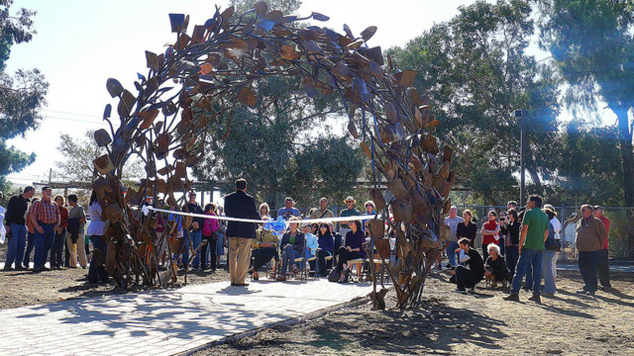 ribbon cutting of the shovel sculpture