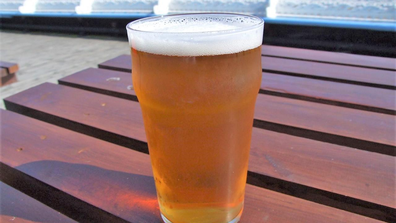 Image of a pint of beer on a picnic table.