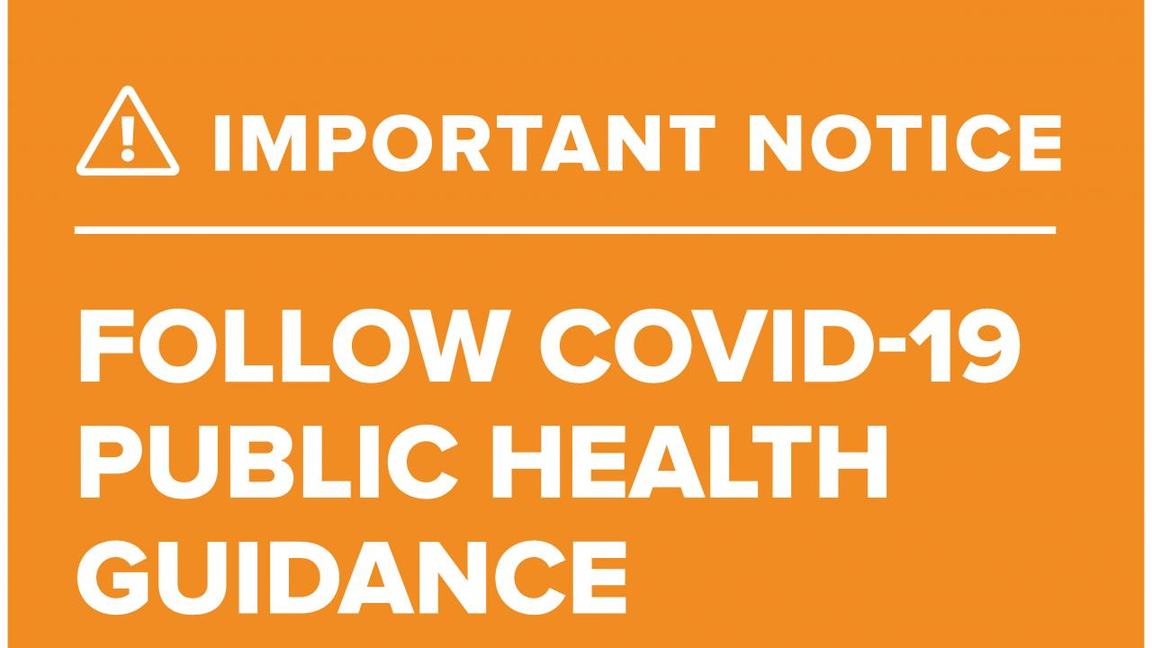 Image of the poster notifying visitors to the UC Davis Arboretum that they must practice COVID public health guidance in our outdoor spaces.
