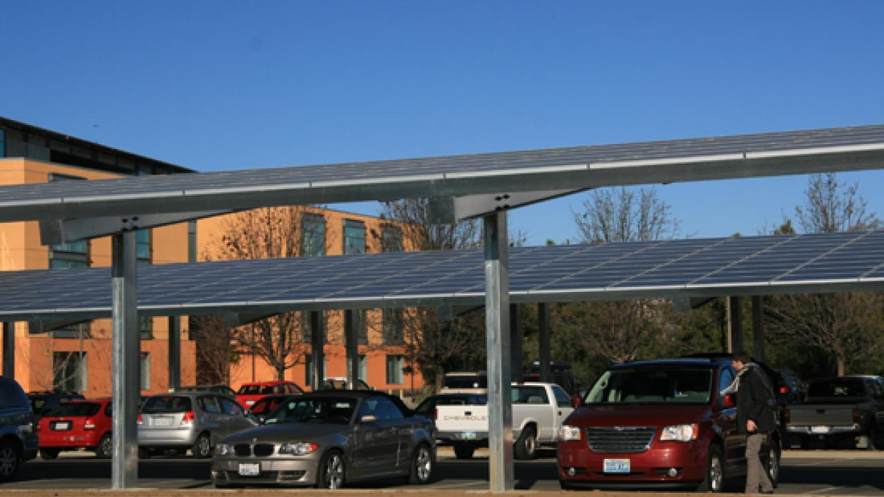 Solar panels in Mondavi parking lot