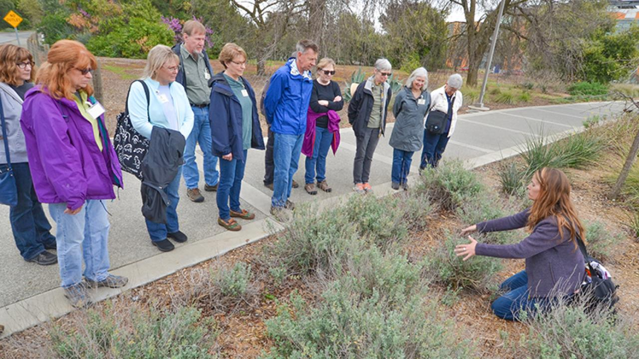 Image of Stacey Parker, GATEways Horticulturist with the UC Davis Arboretum and Public Garden, providing instruction to gardening volunteers.