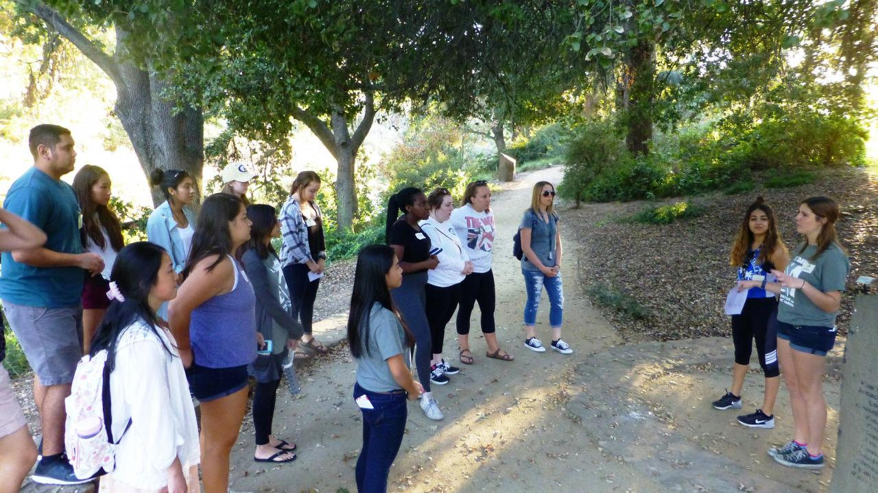 Image of student leading a tour in the UC Davis Arboretum.