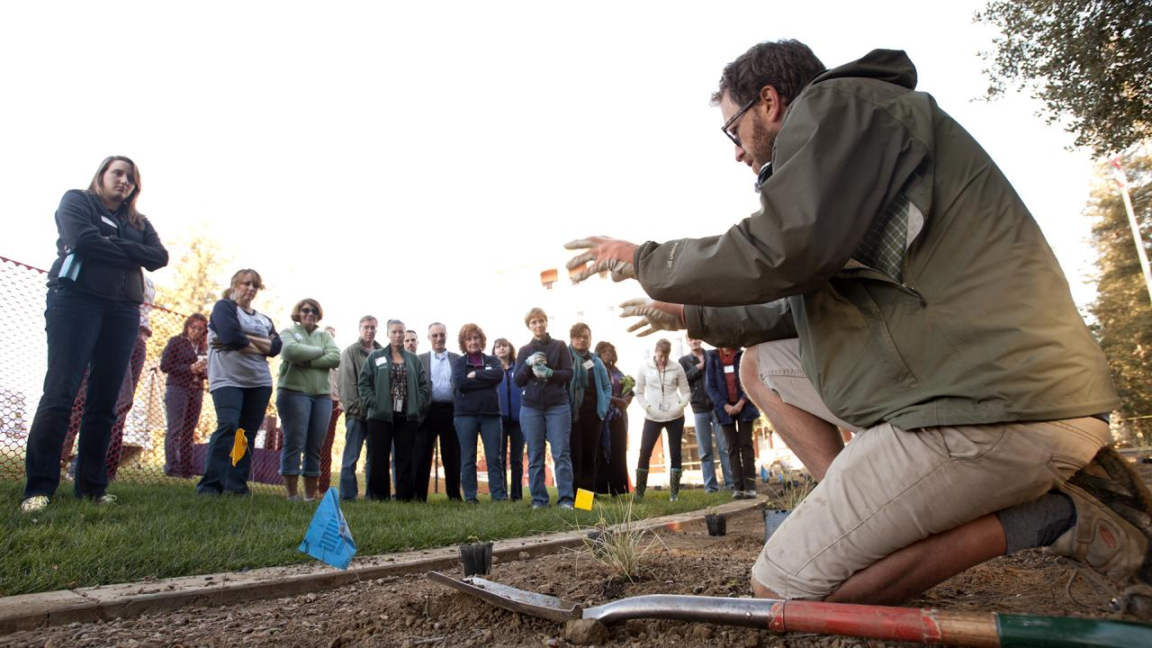 Staff GATEways horticulturist Ryan in the Arboretum Teaching Nursery