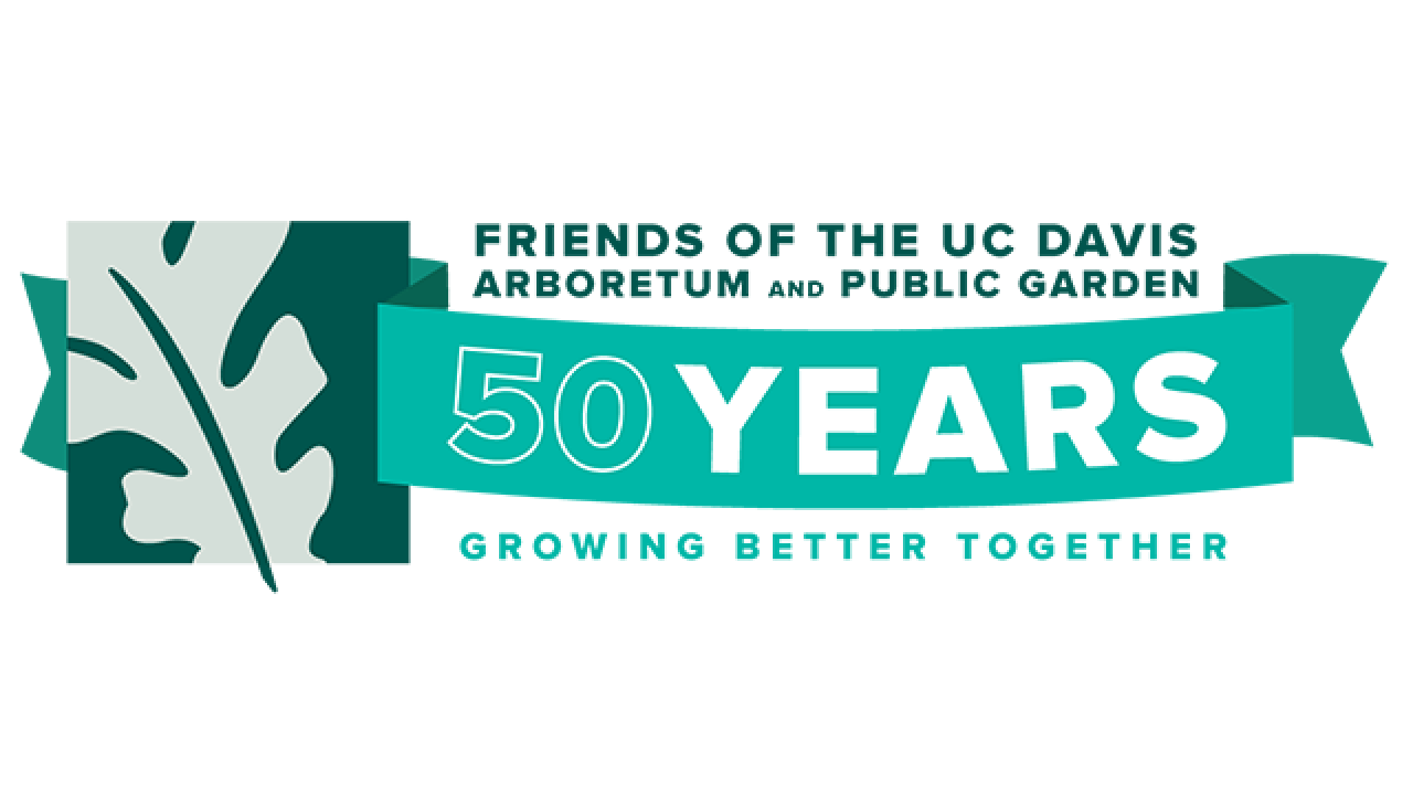 Image of the logo for the Friends of the UC Davis Arboretum and Public Garden 50th Anniversary.