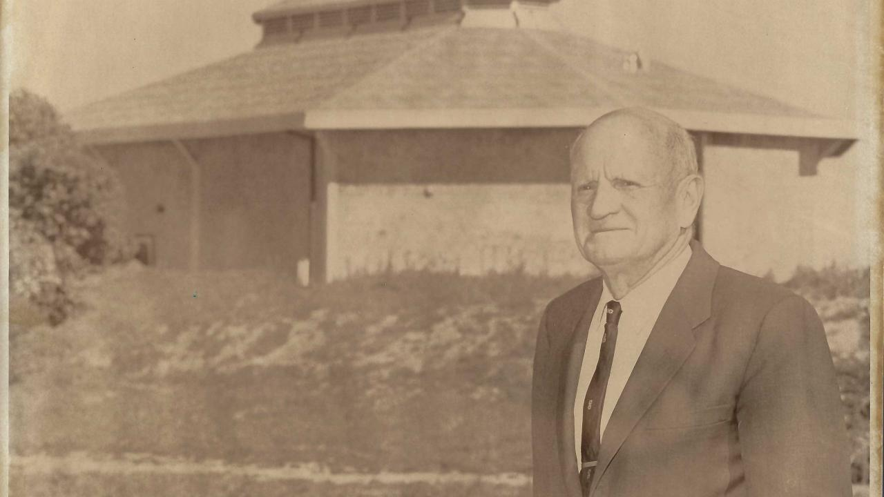 Image of Fred Wyatt in front of Wyatt Pavilion