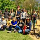 Students, faculty and staff participate in a tree planting event along the east side of campus as part of the UC-wide Cool Campus Challenge and to support our continued status in Tree Campus USA.