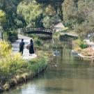Image of Arboretum visitors strolling along the Arboretum Waterway.