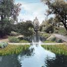 Photorealistic image of weirs along the east end of the Arboretum waterway