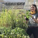Image of Abbey Hart at the UC Davis Arboretum Teaching Nursery with her herbs.