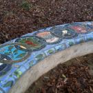 Ceramic tiles on bench