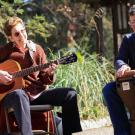 Image of musicians at the UC Davis Arboretum and Public Garden's bi-weekly folk music jam session on Wyatt Deck.