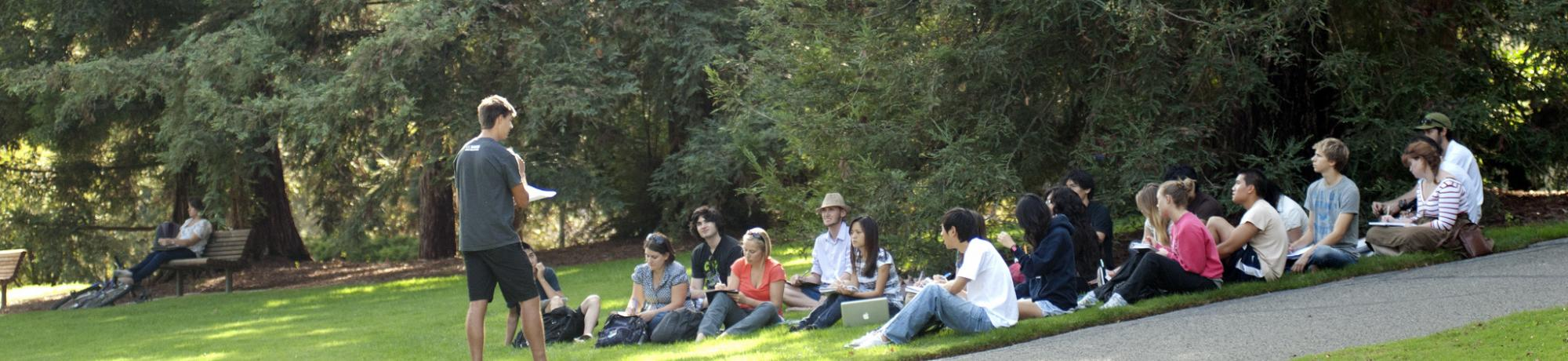 Image of class being taught outside at UC Davis.