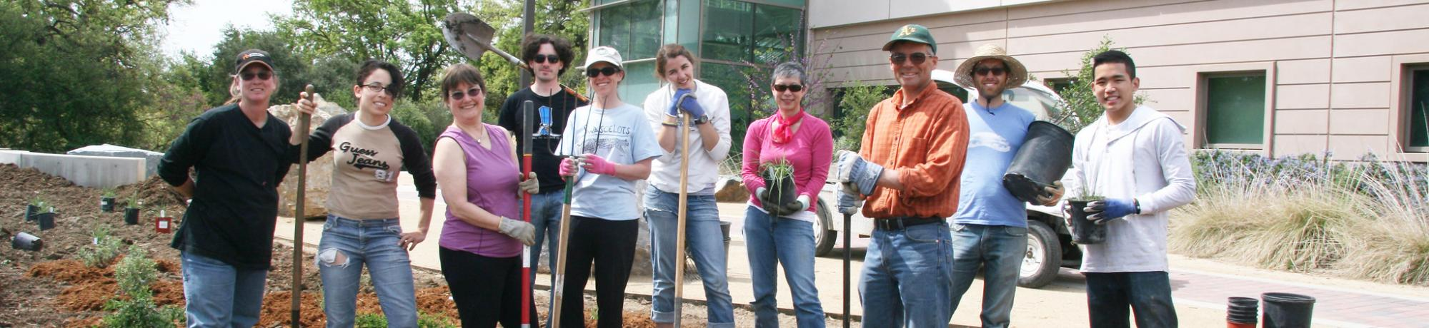 Image of staff, students and volunteers in the UC Davis California Rock Garden.