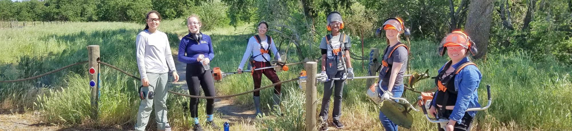 Image of students with weed whackers and other equipment at Putah Creek Riparian Reserve.
